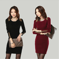 New 2015 Autumn Winter Female Slim Woolen Sweater Pullovers Mid-long Round Neck Women Tops Knitted Dress Sweater Black/Maroon
