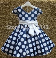 Retail New Princess Children dress Dot Bowknot Kids Children Dress Party for Girls Princess kid Toddler Dress H-Dec23