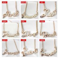 Wild fresh letter constellation pendant  female short clavicle chain necklace Zodiac pendants