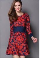 Drop shipping new arrival Spring Autumn women Long sleeve brand design fashion women print dress#Y14501