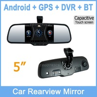 5'' 1080P HD Front DVR Android OS Anti Glare Blue Mirror GPS Bluetooth Wifi Night vision Video recorder Free map 2pcs 8g card