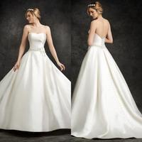 Cheap 2015 A-Line Floor Length Satin Wedding Dress Bridal Gown Long Backless Bridal Wedding Gown Sleevekess Strapless F763