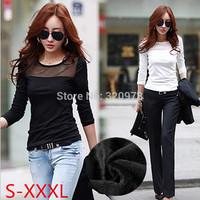 S-3XL roupas femininas 2014new korean style plus size long sleeve black white blue casual women thick warm t shirt free shipping