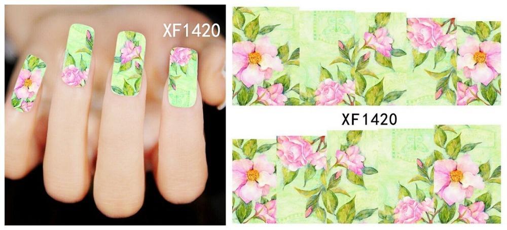 1 Sheet Fashion Water Transfer Design Nail Art Sticker/Decal Watermark Tips Nail Tools XF1420(China (Mainland))