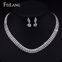 FEILANG White Gold Plated Bridal Luxury AAA Cubic Zirconia Diamond Choker Necklace and Earring Jewelry Sets (FSSP098)