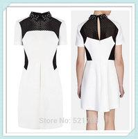 [NWT] 2015 Spring And Summer Dress Neckline Beaded Gauze Stitching Slim Was Thin Dress Free shipping PLUS SIZE DRESS XXL