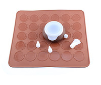 30 Holes Macaron Mat and Cake Decorating Pot with 3 Nozzle Kit Silicone Pad Jelly Fondant Chocolate Mold Baking Tools