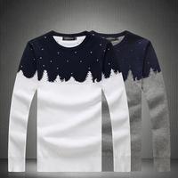 Plant Pattern O-neck Men Winter Sweaters 2015 New Arrival Snow Warm Fashion Designer Brand Long Sleeve Knitwear Pullovers