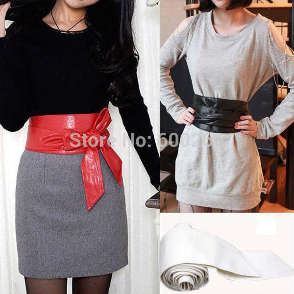 Hot sales Lady Bowknot Belt Bind Wide Belt 3 Colors Soft Faux Leather Waistband Waist Belt free shipping(China (Mainland))