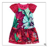 Wholesale cati brand summer new girls flower short dress children cotton dress 6pcs/lot