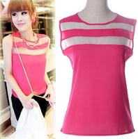 1 piece 2014 Brand New stripe design Casual Women Blouses Vintage style Polka Chiffon Blouses Sleeveless Lapel Shirts 5 colour