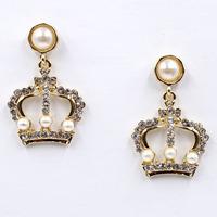 New 2015 women statement unique earrings fashion crystal crown pearl dangle Earrings for women jewelry wholesale