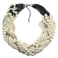 2015 New fashion Z bib collar necklace & pendant chunky luxury choker pearl Necklace statement  jewelry