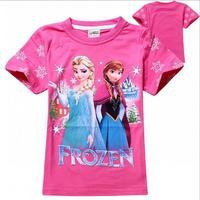 New 2015 frozen summer Tee T-shirt girls short sleeve cartoon shirts baby girl shirt cotton tops kids clothes WD2115