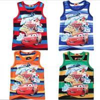 New 2015 summer Cars Tee T-shirt boys vest cartoon shirts baby boy shirt cotton tops kids clothes WD2120