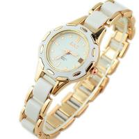 Upscale Imitation Ceramic Students Bracelet Watch with Steel Band Girls Quartz Watches Stylish White Ladies Dress Wristwatches