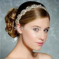 Luxury artificial crystal round flower headband tiara for bridal long ribbon bowknot headwear hair accessories jewelry
