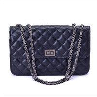 Fashion Silver Chain Grid Design PU Leather Women Hobo Clutch Handbag Shoulder Tote Bag
