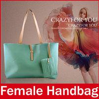 2015 New Brand Fresh Women Handbag Fashion Ladies Zipper PU Leather Hand Totes Bag For Female With Extra Purse