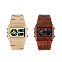 Top Quality Relogio Masculino Wooden Quartz Watch for Men Analog Digital Double Movement LED Display Free shipping