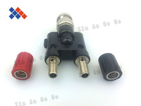 RF coaxial connector video tee BNC male  to double female of banana plugs