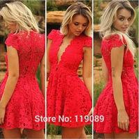 2015 Casual Ropa Women Red Wedding Dresses Lace Crochet V-neck  Renda Vestidos De Bodycon Club Robe Verao Foral Estampado HBQ63