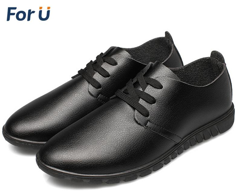 ForU New 2015 Men Leather Shoes Spring Autumn Winter shoes Casual Leather Lace-up Shoes Oxford shoes Plus size 45 46 47(China (Mainland))