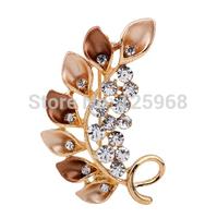 Free Shipping!2015 New 3pcs/lot Fashion Elegant Leaves Rhinestone Brooches Women Crystal Brooches Pins