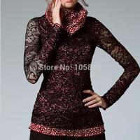 2015 New Autumn Winter European Style Fashion Women Pile Collar Turtleneck Polka Dot Print Fabric Patchwork Lace Basic Shirt Top