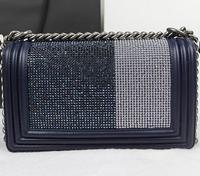 2014 brand name lady rhinestone lambskin BOY CC Flap Bag fashion shoulder bag NO.A67025-rhinestone