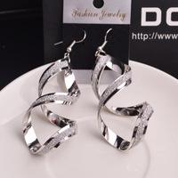 Free Shipping Fashion Earrings 2014 Women are Earring rotation Frosted distorted Long Earrings Hot Sale Women Vintage Earrings