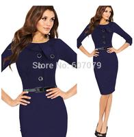 Free hkpost 2015 NEW Vintage LONG SLEEVE Dress Buisness Elegant Knee-Length Button Tunic Evening Party Bodycon Sheath Dress 012