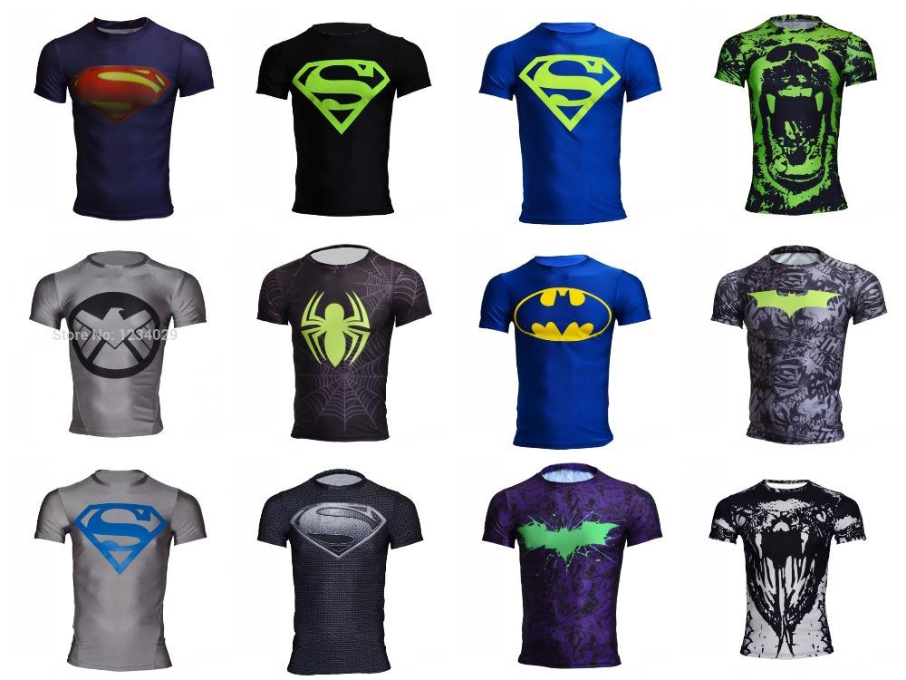 Free shipping 2015 new men steel beast compression shirt superman/batman/gym/run/train t shirt fit tight shirts sports t-shirt(China (Mainland))