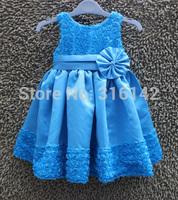 New Girls dress 2015 Summer Kids lace Rose Flower Sleeveless Party Dress Children clothing Retail + Drop shipping H-Dec26