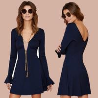 Free Shipping Europe and America Sexy Women Long Sleeve V-Neck Sweet Slim Thin Flare Sleeve Dress