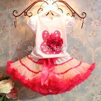 hot Sell  2014 New Baby Girls Sets Girls Cartoon rabbit Clothing Set T shirts + Skirt Children 2pcs Suit AQZ106