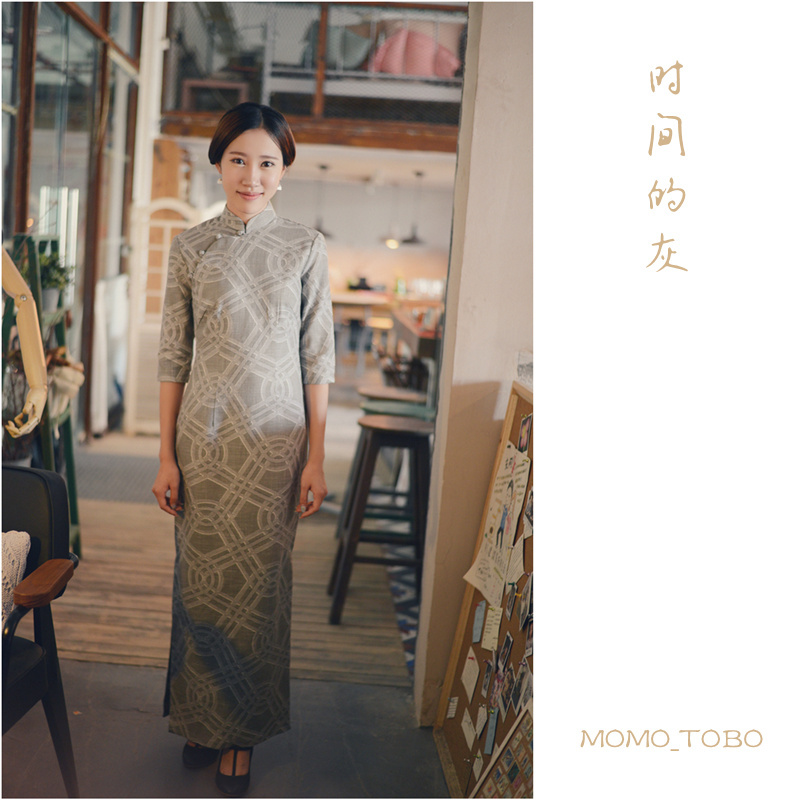 Momo cheongsam / September New thicker bamboo linen sleeve dress in six basic models - the time of ash(China (Mainland))
