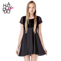 2015 spring and summer vintage back hambrough tiebelt gauze patchwork buttons dress, women clothes ,women dress