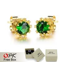 OPK Vintage Cute Women Stud Earrings Fashion Retro 18K Gold Plated Green/White Cubic Zircon Crystal Wedding Jewelry Low Price