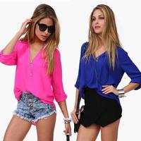 Plus Size New 2014 Women Blouse Fashion Chiffon Three Quarter Sleeve Long Tops V-neck Chiffon Shirt Blusas Femininas