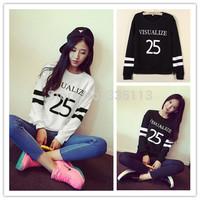 2015 Women Korean New Fashion O Neck Long Sleeve Letter Print Pullover Sweatshirt Black White Striped Casaul Cotton Hoodies