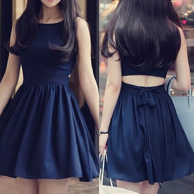 Summer Cute party dress sleeveless dark blue and red women dress(China (Mainland))