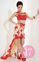 Sexy  Mermaid Scoop Tank Lace Two Pieces Floor Length Evening Prom Dresses See Through 2015 Beading