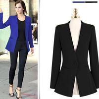 Women Blazers And Jackets 2014 Fashion Long Sleeve One Button Slim Casual Women Blazer Suit Jacket Coat Outwear LJ272DB