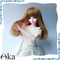 """BJD SD Doll wig  1/3 9-10""""Brown and Pink Mix  Cosplay Wig Free Shipping"""