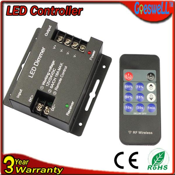 RGB контролер Led strip dimmer 18A 432W dc12v/24v 11key Remote RF Wireless led dimmer
