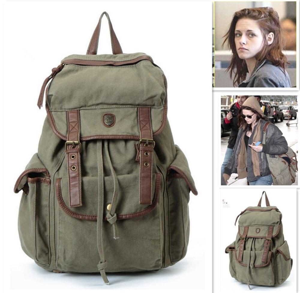 New Vintage Backpack Women canvas Shoulder Bag kristen stewart Men ...