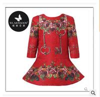 Girl long sleeve dress wlmonsoon brand new high quality dress children flower dress kids cotton clothes