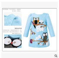 Girl long sleeve dress wlmonsoon high-end luxury brand models dress children owl dress kids cotton clothes