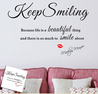 Removable Large English Letters Characters Keep Smiling Bedroom Wall Sticker Art Decals Home Decoration